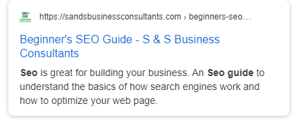 Snippet of meta title & description for Beginners Guide to SEO from S & S Business Consultants.