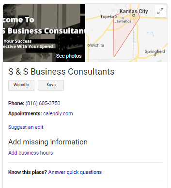S and S Business Consultants on Google My Business.